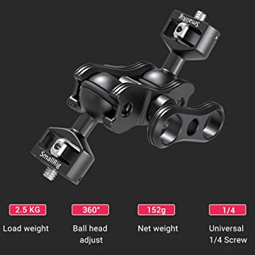 Viewfinders 245mm 2109 Extension Bar for Field Monitor Led lights 9.7inch SMALLRIG Ball Head Magic Arm Kit with 1//4 Screw Mount Adapter and Bracket