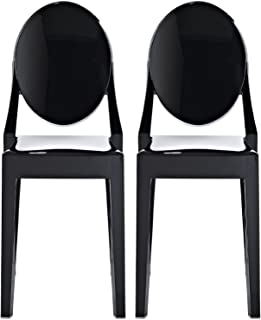 2xhome Set of Two (2) - Louis Style Ghost Armchair Dining Room Chair - Lounge Arm Arms Armed Chairs Armchairs Accent Seat Higher Fine Modern Mid Century Designer (Side Black)