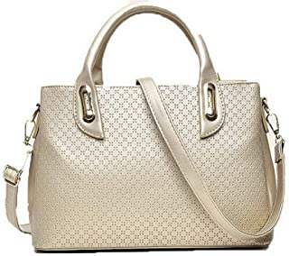 Shoulder Bag Women's Zippers Crossbody Bags Fashion Casual PU Tote Bags Handbag Clutch (Color : Gold, Size : One Size)