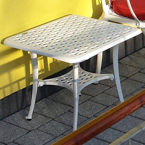 Lazy Susan – SANDRA Quadratischer Kaffeetisch mit 1 APRIL Gartenbank und 2 APRIL Stühlen – Gartenmöbel Set aus Metall, Weiß (Beige Kissen) - 2