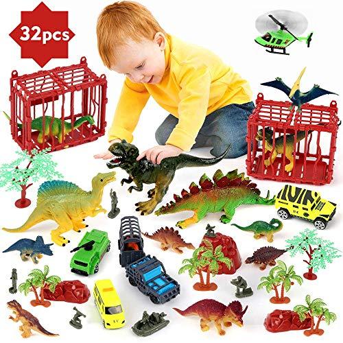 BeebeeRun Juego de Dinosaurios para niños,32 PCS Figura de Dinosaurio Juguetes Juego para Chicos Chicas
