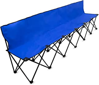 Crown Sporting Goods 8-Foot Portable Folding 6 Seat Bench with Back