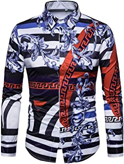 a2328812 Versaces Men Shirt Leisure Palace Wind Digital Striped Print Long Sleeve  Shirt, Black Blue,