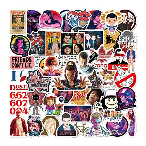 50 Pcs Stranger Things Stickers TV Show Decals for Water Bottle Hydro Flask Laptop Luggage Car Bike Bicycle Waterproof Vinyl Stickers Pack
