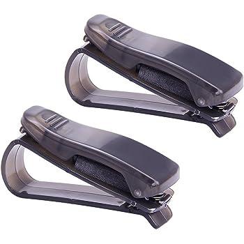 2 Porte lunettes à clip Hysagtek pour voiture, pour lunettes de soleil, clip pare soleil de voiture, ticket, carte, support auto, accessoires pour