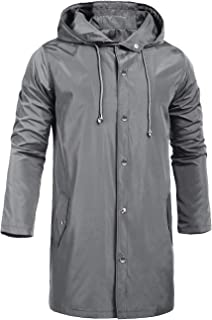 ZEGOLO Men's Raincoats Waterproof Jacket Hood Windbreaker Breathable Lightweight Business Outdoor Long Rain Jacket for Men