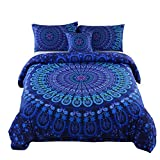 MEILA Duvet Cover Set Luxury Soft Microfiber Bedding Sets Bohemian Mandala Pattern Bedclothes , Full(80inx 90in), 4 Pieces (1 Duvet Cover+ 2 Pillowcase+ 1 Throw Pillow Case)