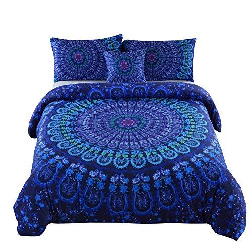 MEILA Duvet Cover Set Luxury Soft Microfiber Bedding Sets Bohemian Mandala Pattern Bedclothes , King(104inx 90in), 4 Pieces (1 Duvet Cover+ 2 Pillowcase+ 1 Throw Pillow Case)