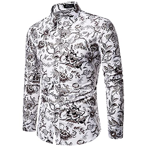 Men's Casual Button-Down Shirts Slim Fit Business Floral Vintage Printed Long Sleeve Shirts Blouses Tops