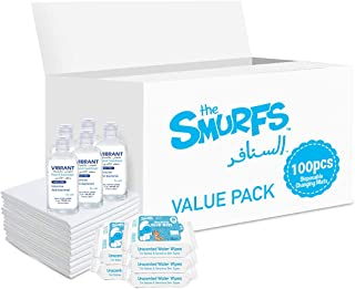 Smurfs Disposable Changing Mats 100 + Smurfs Water wipes 36 x5 + Vibrant Sanitizers 100 ML x5
