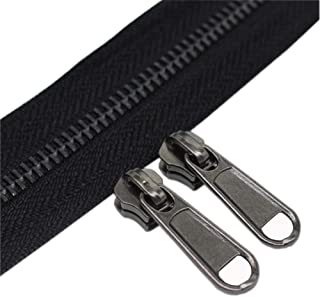 YaHoGa #5 Metal Zippers by The Yard Bulk 4 Yards + 10 pcs Sliders for Bags DIY Sewing Tailor Crafts, Without Stops (Black Nickel Teeth)