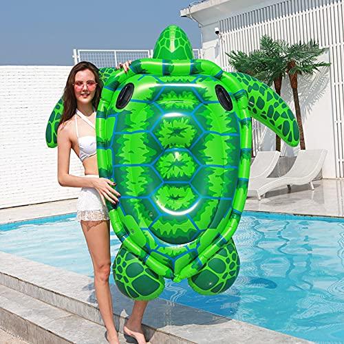 JSJE Fila Flotante de Tortuga Inflable Gigante, Piscina de Verano Montando salón Flotante Juguete Camara Flotante decoración de niños