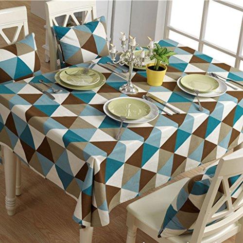 SIMPVALE Nappe Moderne Géométrique Motif Triangle Nappe Toile en Coton Tissu décoration pour Table, Bleu, 140cmx180cm
