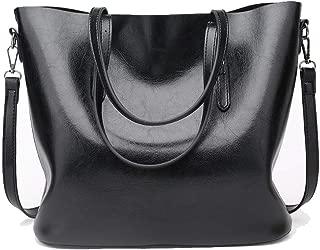 Fine Bag/Large-Capacity Shoulder Bag Retro PU Women's Handbag Casual Wild Crossbody Bag Multi-Function Shopping Bag Travel (Color : Black, Size : 32 * 13 * 28cm)