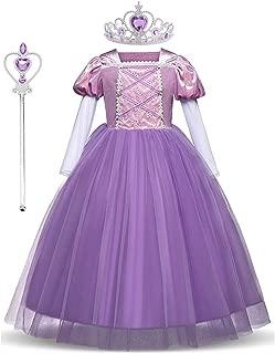 LENSEN Tech Princess Rapunzel Dress Cosplay Party Long Sleeve Costume