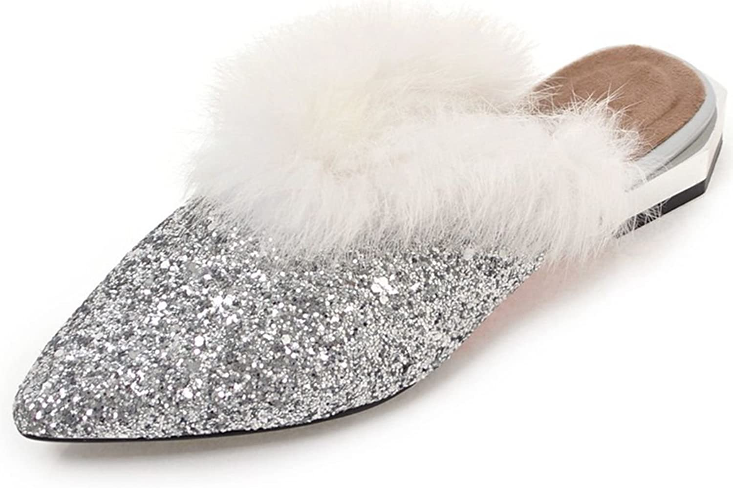 DoraTasia Women's Glitter Faux Fur Pointed Toe Flat Slippers