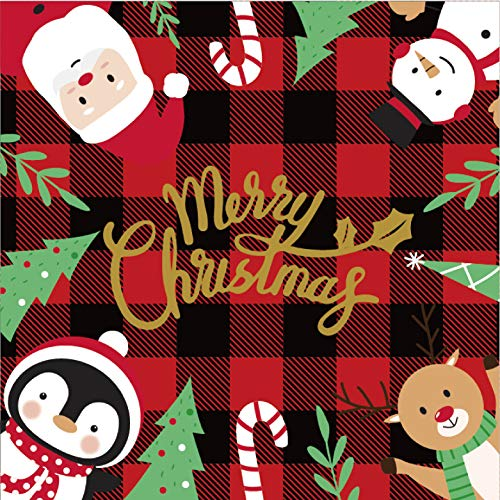 Christmas Napkin Disposable 100PCS Buffalo Plaid Napkins Gingham Checkered Pattern with Santa Claus