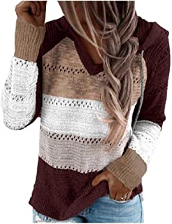 Comaba Women's Long-Sleeve V Neck Fall Winter Knitted Hooded Relaxed Tees
