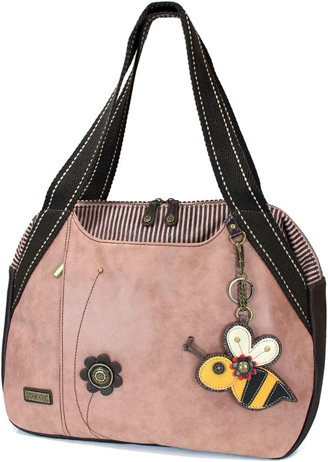 CHALA Handbag Bowling Zip Tote Large Bag Pleather Dusty pink Pink Gift BEE fob
