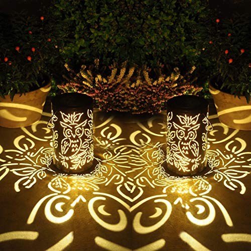 Gadgy Set von 2 Solarlaterne für außen | Garten beleuchhtung | Eulen form lampe mit Licht- und Schatteneffekt | Wasserdichte Hänge-, Tisch- oder Bodenornamente