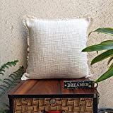 Trending Home Collection Cotton Textured Fabric with Fringe Stitched Zippered Cushion Cover in Adorable Gifting Tote Bag(Ivory | 16 x 16 Inches | Set of 2)|