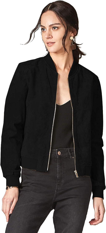 Escalier Women`s Genuine Leather Jacket Zip up Suede Quilted Bomber Biker Coat