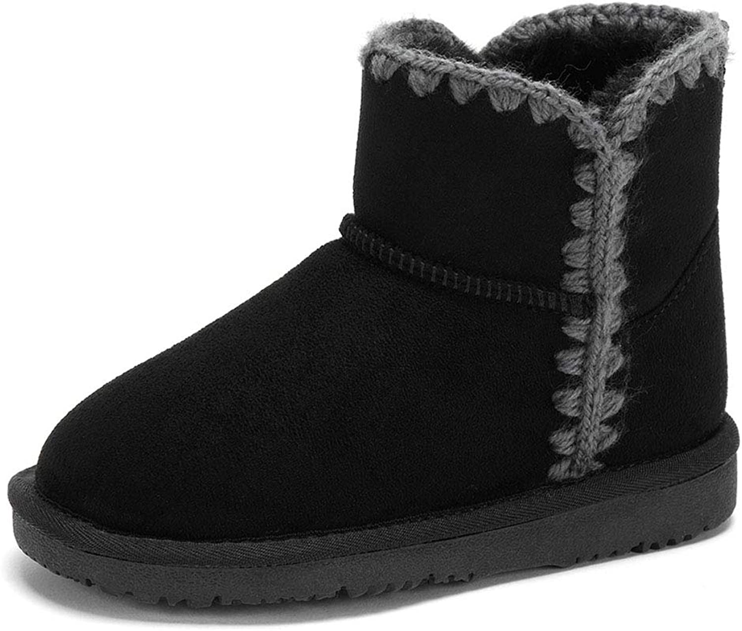 Woven Side Plush Solid color Snow Boots Girl Short Boots Outdoor Sports shoes Casual shoes Suitable All Clothes shoes & Handbags (color   Black, Size   32)