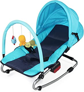 Bouncer,Calming Vibrations Newborn Baby Bouncer with Recline Suitable from Birth, 0 Month + Assembly Detachable Blue
