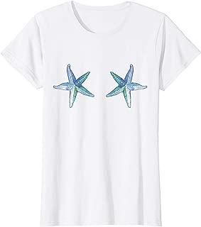 Womens Starfish Mermaid Sea Shell Bra T-shirt - Cute Beach Costume T-Shirt