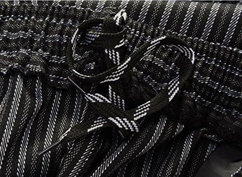 WAIWAIZUI Herren Kochhose Gummizug Streifen Schwarz L/(Herstellergröße:3XL) - 5