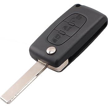 Cover Chiave Guscio Telecomando 3 Tasti Peugeot 206 107 106 208 307 308 407 207 408 Citroen C1 C2 C3 C4 Saxo CHIAVIT PE008 Ricambi Scocca Chiavi Auto Logo Senza Elettronica e Transponder
