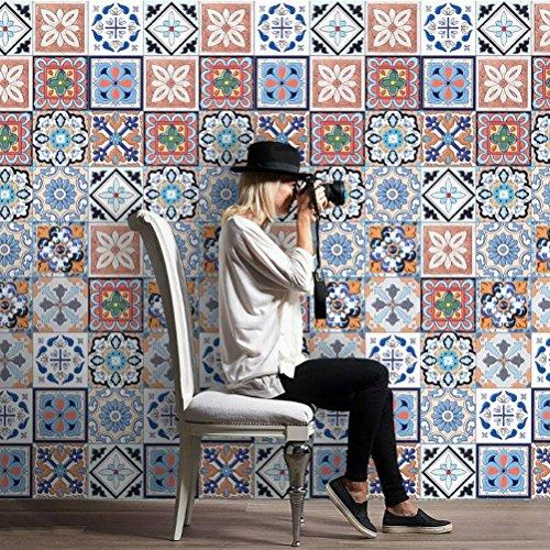 MINRAN DECOR J Art de tuiles Mural - Adhésif carrelage   Sticker Autocollant Carrelage - Mosaïque carrelage Mural Salle de Bain et Cuisine   - 20cm*5m 003