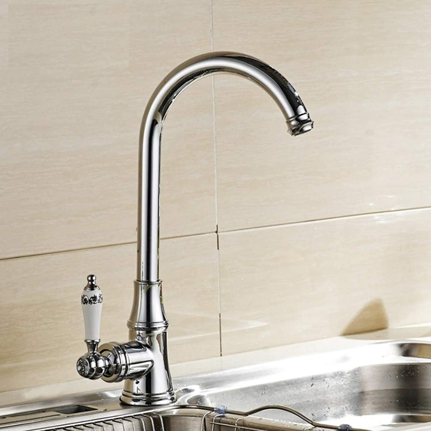 Ganjue Polished Chrome Kitchen Faucet. 360 Degree redating Kitchen Tap. Hot and Cold Faucet Basin Sink Mixer