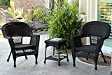 Jeco 3 Piece Wicker Chair and End Table Set without Cushion, Black