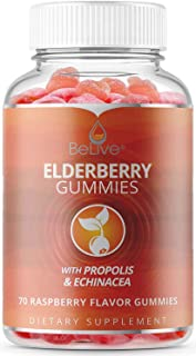 Elderberry Gummies with Vitaminc C, Propolis, Echinacea. Max Strength 200MG - Sambucus Black Elder Immune Support for Adults & Kids | Raspberry - 70 Count