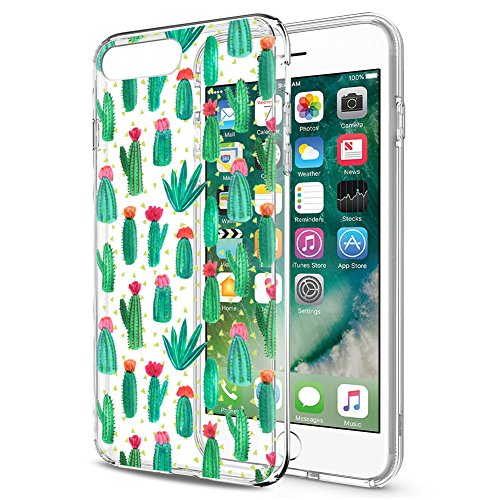 Eouine Cover iPhone 8/7, Ultra Slim Cover Trasparente con Disegni Morbido Antiurto 3D Cartoon Gel Custodia Bumper Case in TPU Silicone per Apple iPhone 7 / iPhone 8 (Cactus)