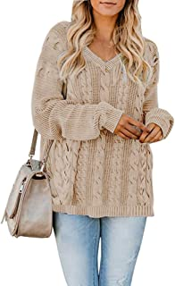 Yskkt Womens Pullover Sweaters Plus Size Cable Knit V Neck Lace Up Long Sleeve Fall Jumper Tops (XXXX-Large, ZCoffee)