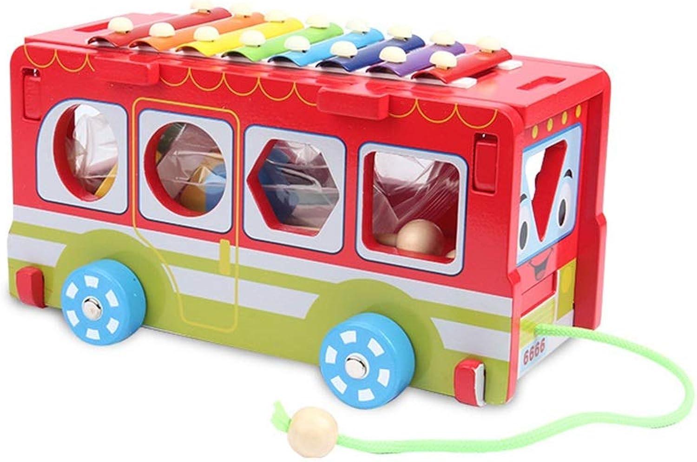 Zhongsufei Schlagzeug-Set Multifunktionale Holz Pull Bus 8 Hinweise Xylophon 10 Form Blcke Frühe Pdagogische Spielzeug Kinder Kinder 3-6 Jahre übungs-Pad-Midi-Drum-Kits