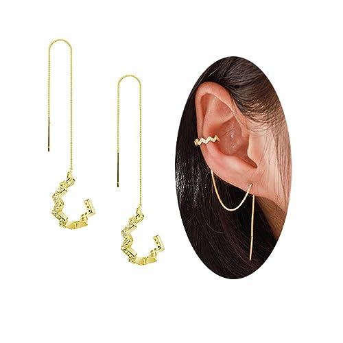 d3528fde0 FarryDream 925 Sterling Silver New Arrival Wave Cuff Earrings Wrap Tassel  Earrings for Women Threader Earrings