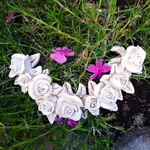 Radami Rosenranke Rosenbouquet Rosenblüte Rose Bouquet Blüte BlumenTischdekoration Gartendekoration Grabschmuck Grab Dekoration 16cm Creme