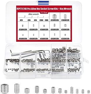 FEPITO 240 piezas Cup Point Grub Screw Cabeza hexagonal Juego de tornillos Allen M3 M4 M5 M6 M8 con llave Allen pequeña M1.5 M2 M2.5 M3 M4 Surtidos de fijación de acero inoxidable Kits