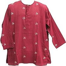 Mens Indian Cotton Bohemian Block Print Burgundy Om Yoga Kurta Tunic Shirt