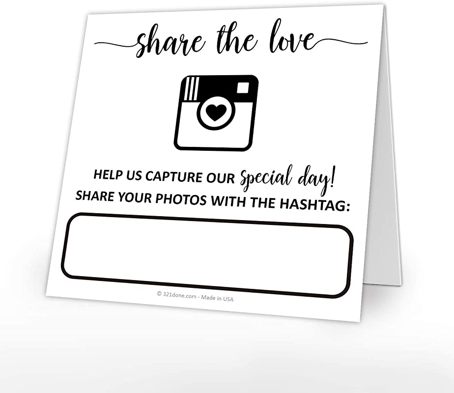 321Done Wedding Hashtag Signs Set Of 25 Tent Cards For Table Placecard Square Write On Large Snap Photo Share Love Made In USA White