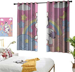 """RuppertTextile Customized Curtains Unicorn with Rainbow and Music Notes Clouds in The Sky Fantastic Art Print 55"""" Wx45 L, Noise Reducing"""