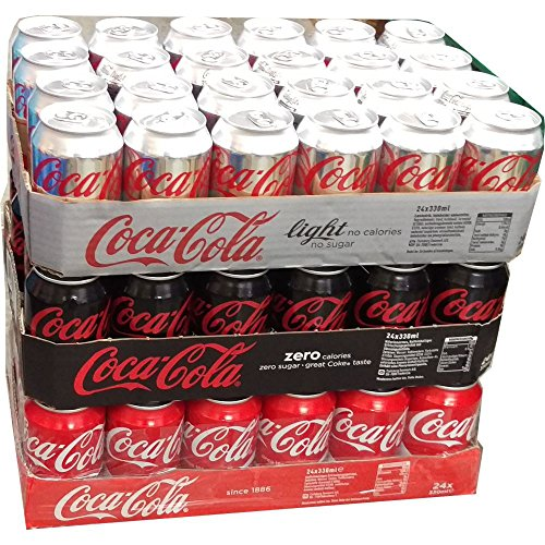 Coca Cola Light, Coca Cola Zero & Coca Cola Original je 24 x 0,33l Dose XXL-Paket (72 Dosen gesamt)