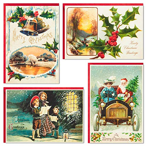 Hallmark Boxed Vintage Christmas Cards Assortment (12 Cards and Archival Book Organizer Box)