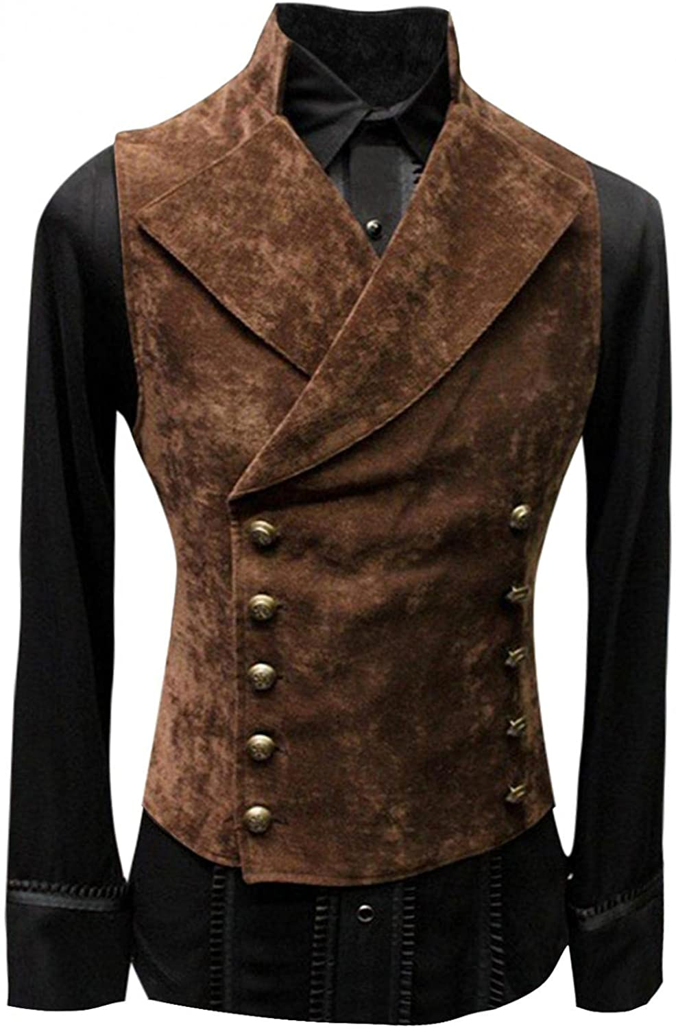 Men's Retro Leather Vest Long Sleeve Jacket, Stand-up Collar Solid Color Button Vest Motorbike Leather Outerwear