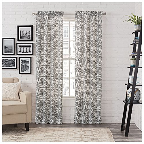 """PAIRS TO GO Brockwell 56"""" x 63"""" Rod Pocket Double Panel Privacy Window Treatment Living Room, 28"""" x 63"""", Charcoal, 2 Count"""