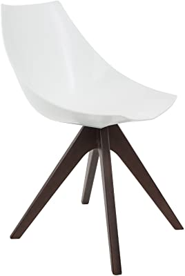 Design Guild Alex White Chair with Brown Wood Legs