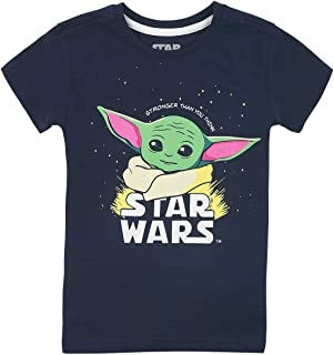 Star Wars The Mandalorian - Baby Yoda - Grogu Unisex Camiseta Azul Oscuro,